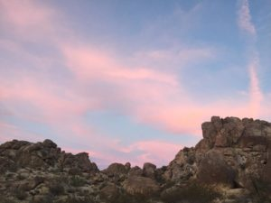 Sunset at rock mounds at joshua tree